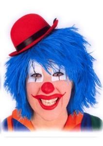 Pruik Clown Touwtjes Blauw