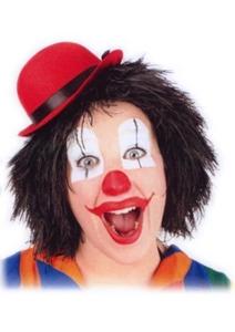 Pruik Clown Touwtjes Zwart Haar