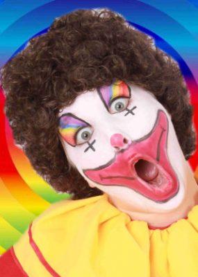 Pruik Clown Bruine Krullen