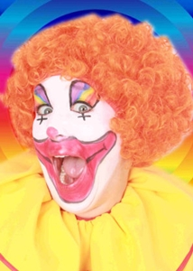 Pruik Clown Oranje Krullen