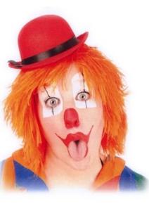 Pruik Clown Touwtjes Oranje Haar