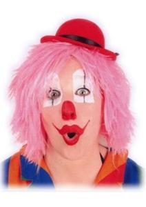 Pruik Clown Touwtjes Roze Haar
