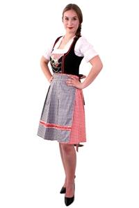 Tiroler Jurk Dirndl Zwart Rood