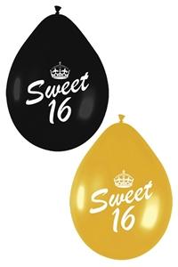 Ballonnen sweet 16 zwart goud for Goud zwart versiering