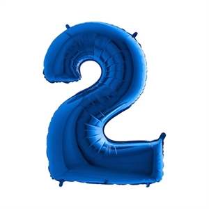 Folie Ballon Cijfer 2 Blauw 100 Cm