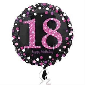 Folieballon '18' Sparkling Pink