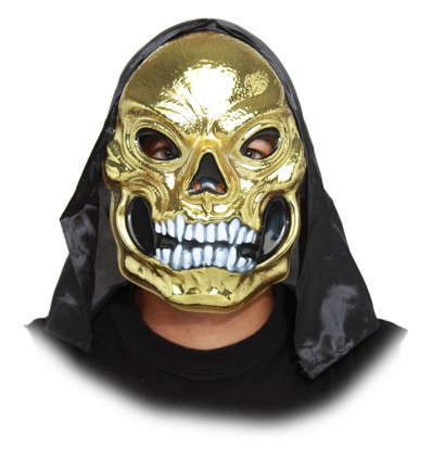 Masker Skull Met Kap Goud