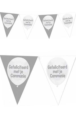 Vlaggenlijn Communie Zilver Wit Gefeliciteerd