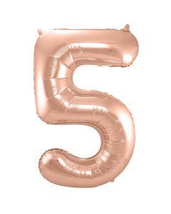 Folie Ballon Rosé Goud Cijfer 5