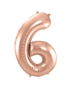 Folie Ballon Rosé Goud Cijfer 6