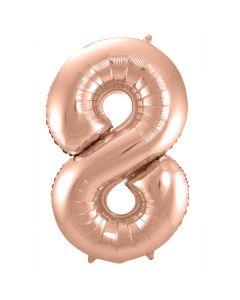 Folie Ballon Rosé Goud Cijfer 8