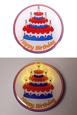 Toppers 2019 Happy Birthday Button Met Lampjes