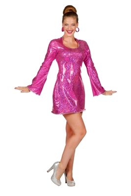 Disco Jurkje Dames Pink Feest Jurkje Dames