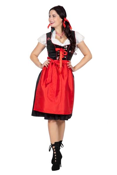 Tiroler Dirndl Jurk Zwart Rood