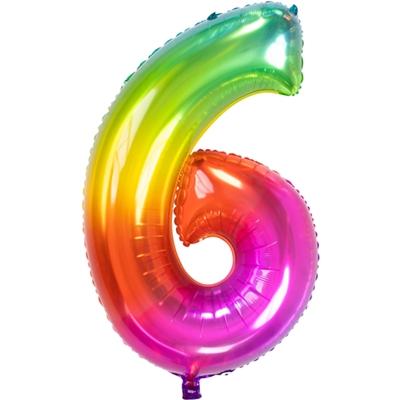 Folie Ballon Regenboog Cijfer 6 86 Cm