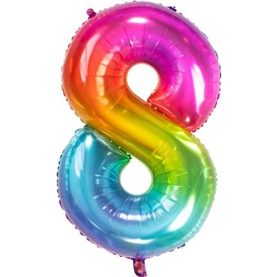 Folie Ballon Regenboog Cijfer 8 86 Cm