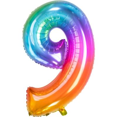 Folie Ballon Regenboog Cijfer 9 86 Cm