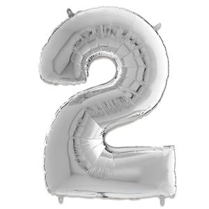 Folie Ballon Cijfer 2 Zilver 66 Cm Kopen