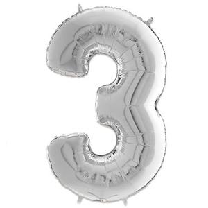 Folie Ballon Cijfer 3 Zilver 66 Cm Kopen