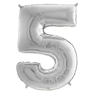 Folie Ballon Cijfer 5 Zilver 66 Cm Kopen