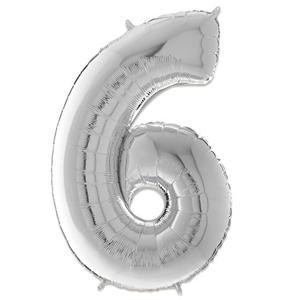 Folie Ballon Cijfer 6 Zilver 66 Cm Kopen
