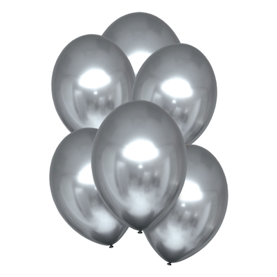 Ballonnen Luxe Satin Zilver 28 Cm 10 Stuks