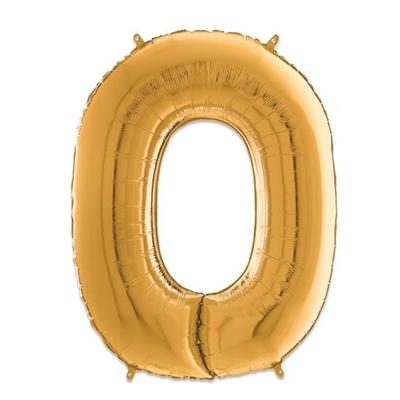 Folie Ballon Cijfer 0 Goud 66 Cm