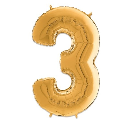 Folie Ballon Cijfer 3 Goud 66 Cm