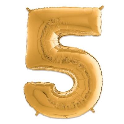Folie Ballon Cijfer 5 Goud 66 Cm