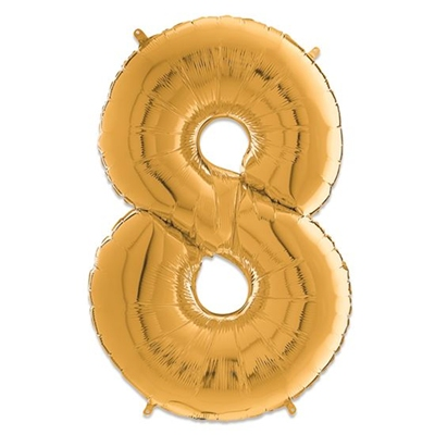 Folie Ballon Cijfer 8 Goud 66 Cm