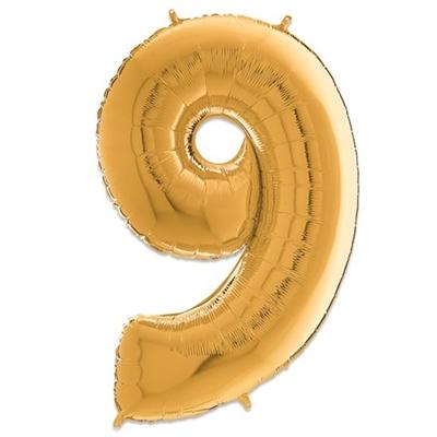 Folie Ballon Cijfer 9 Goud 66 Cm